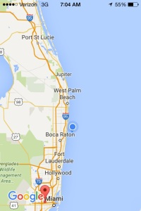 Sailing since 9a Thursday. We are just north of Boca Roton this beautiful Friday morning!