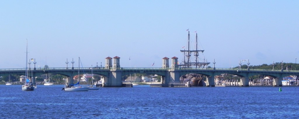 Our anchorage beside Bridge of Lions in St. Augustine on Sunday