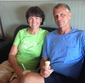 Celebrating our 32nd anniversary by eating ice cream!